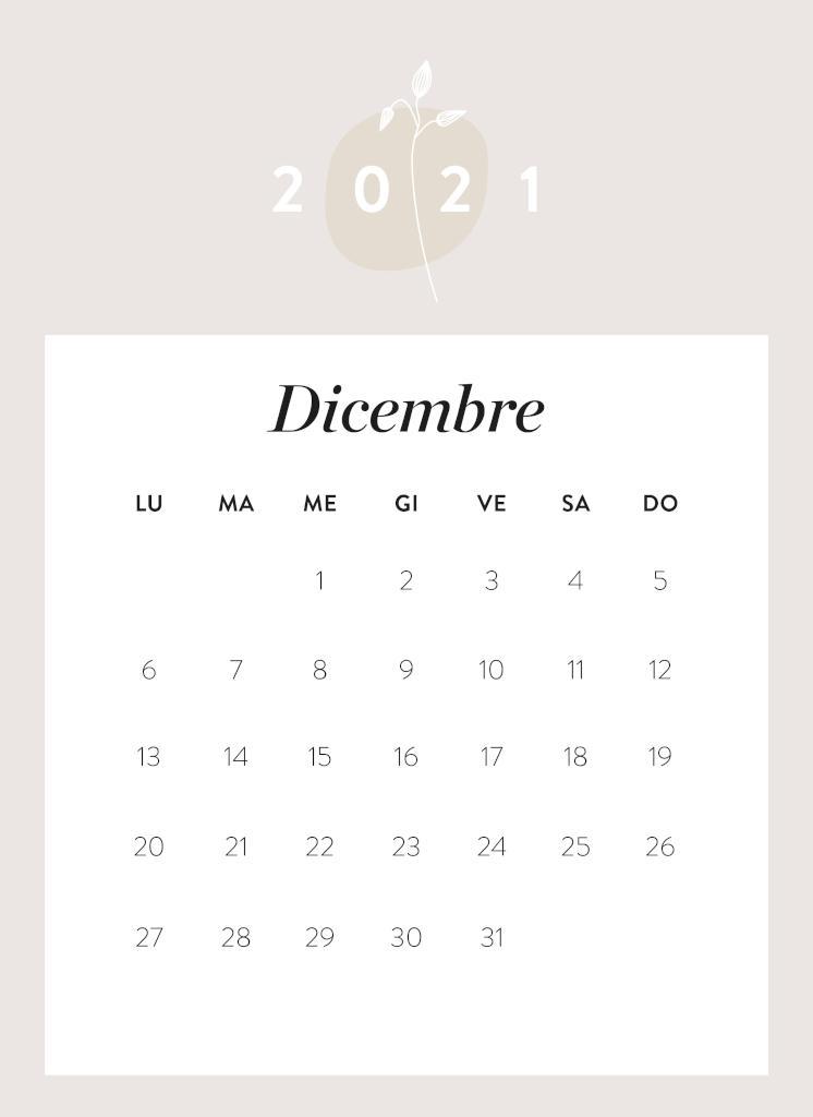 Calendario da stampare Dicembre 2021
