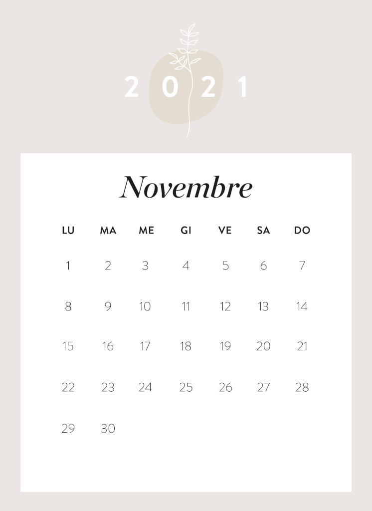 Calendario da stampare Novembre 2021