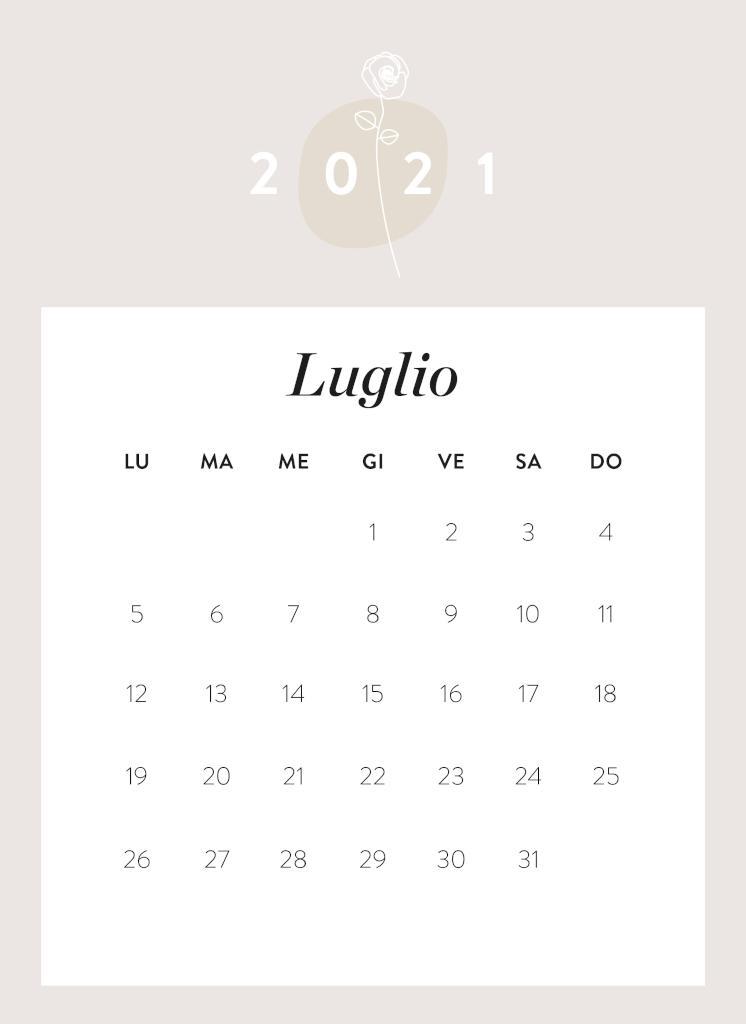Calendario da stampare Luglio 2021