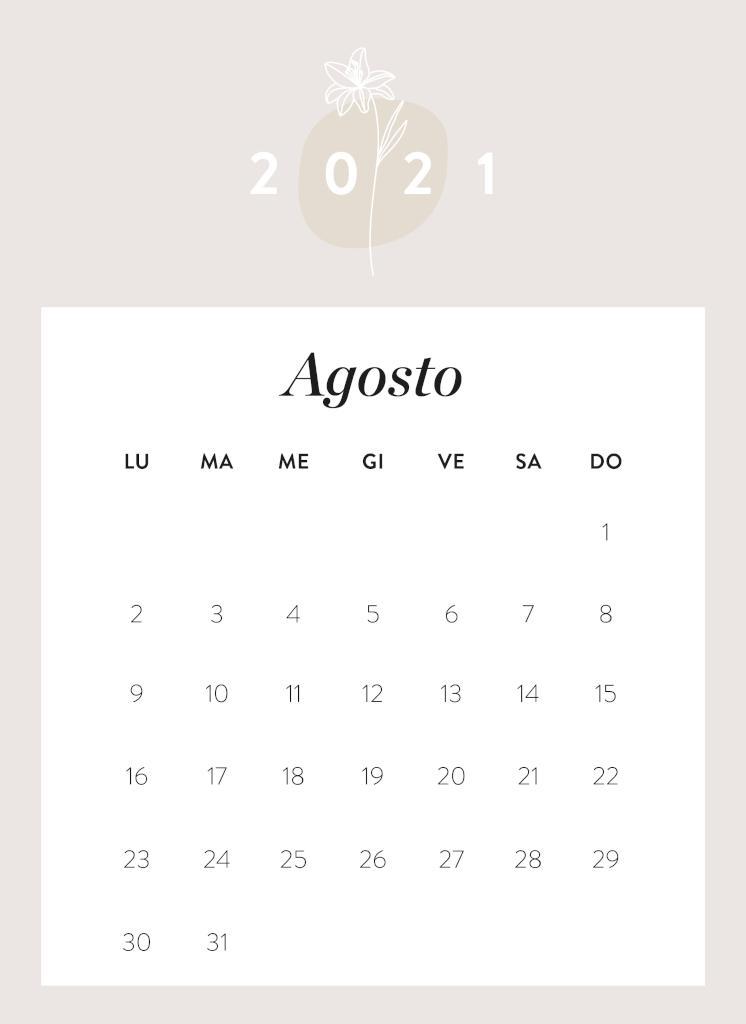 Calendario da stampare Agosto 2021