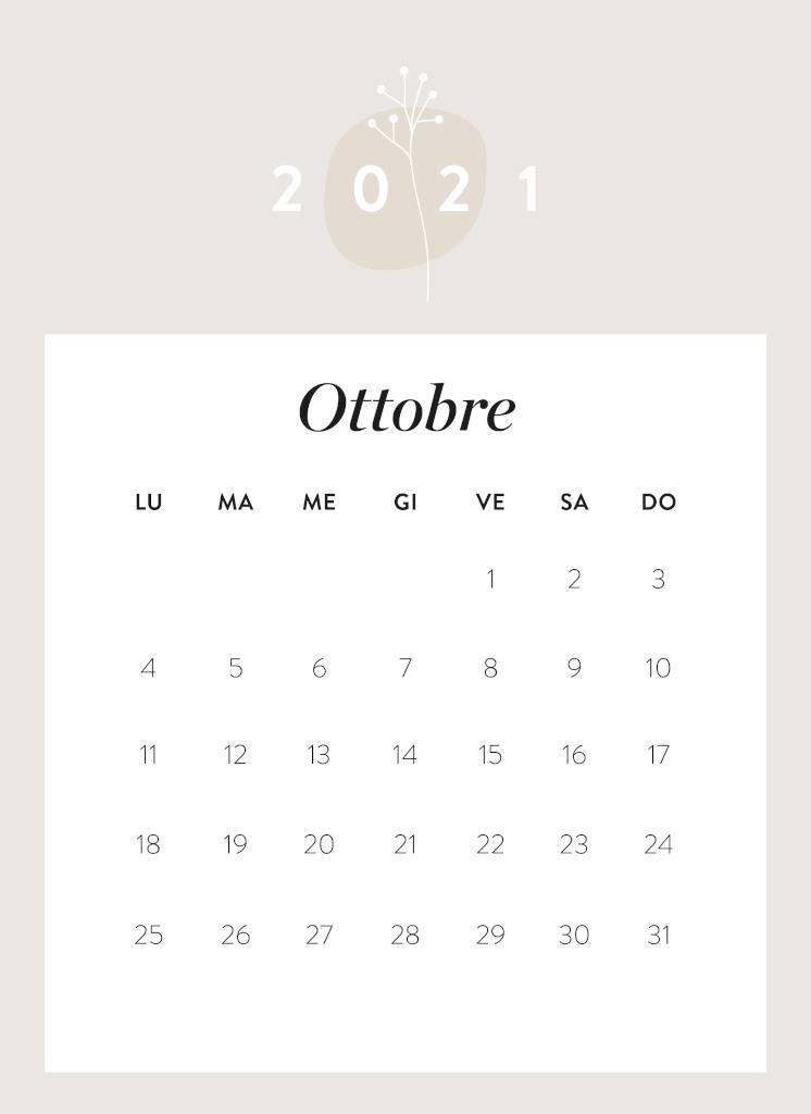Calendario da stampare Ottobre 2021