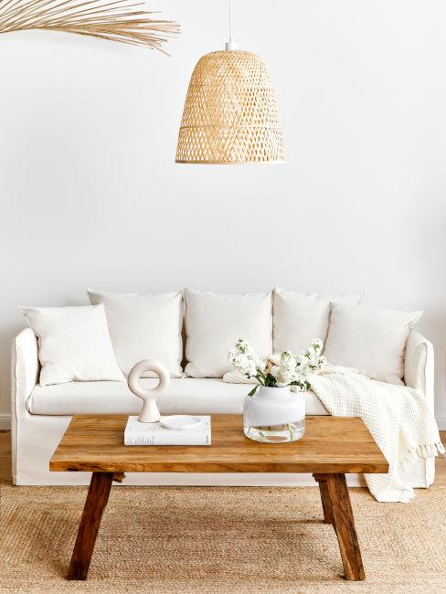 soggiorno con divano chiaro e tavolino in legno