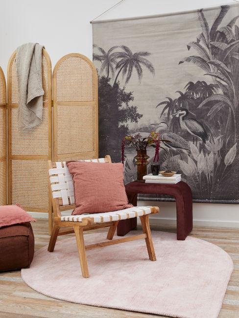 soggiorno arredato in stile orientale