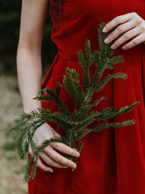 mani di ragazza che tiene un ramoscello