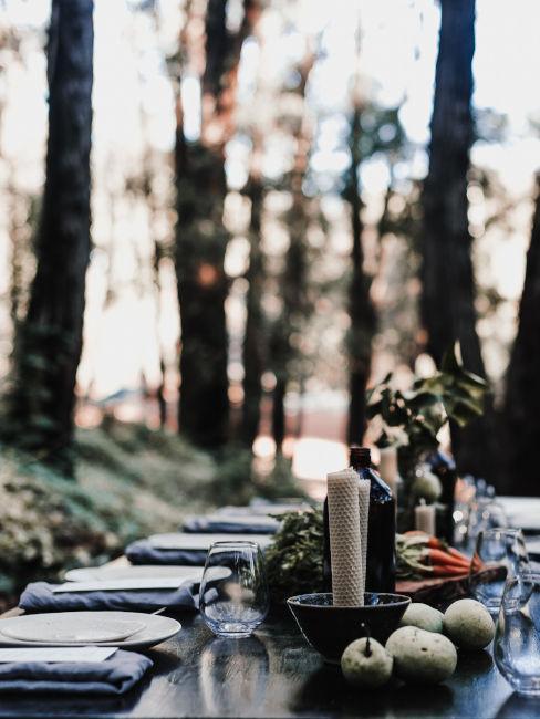 mise en place tavolo nel bosco