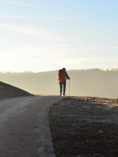 persona che cammina su sentiero all'alba