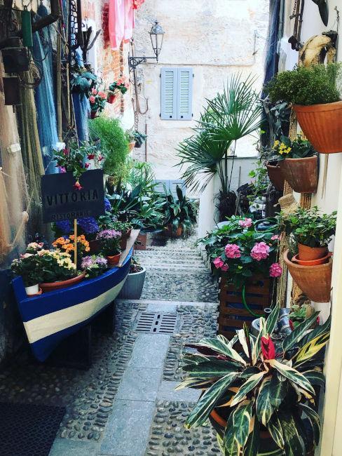 via con piante e barchetta centro Stresa