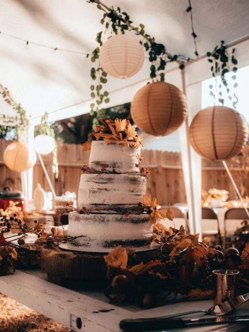 torta nuziale per matrimonio in autunno