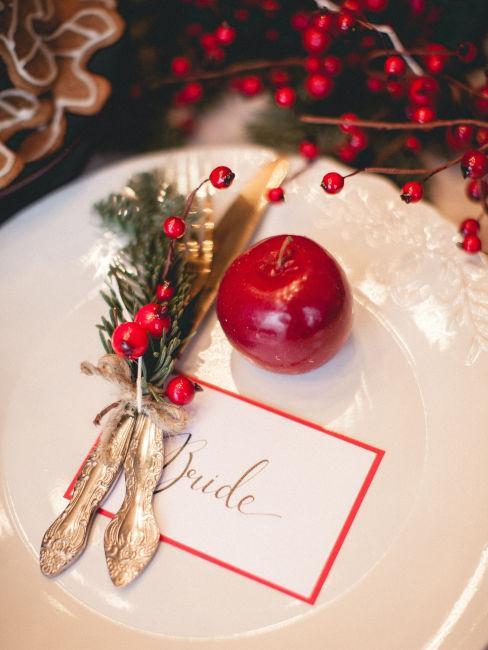 mise en place e decorazioni tavola invernali