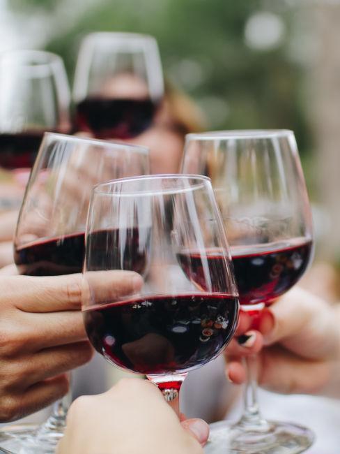 persone che brindano con vino rosso