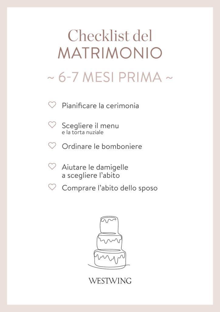 Checklist matrimonio 6 mesi prima