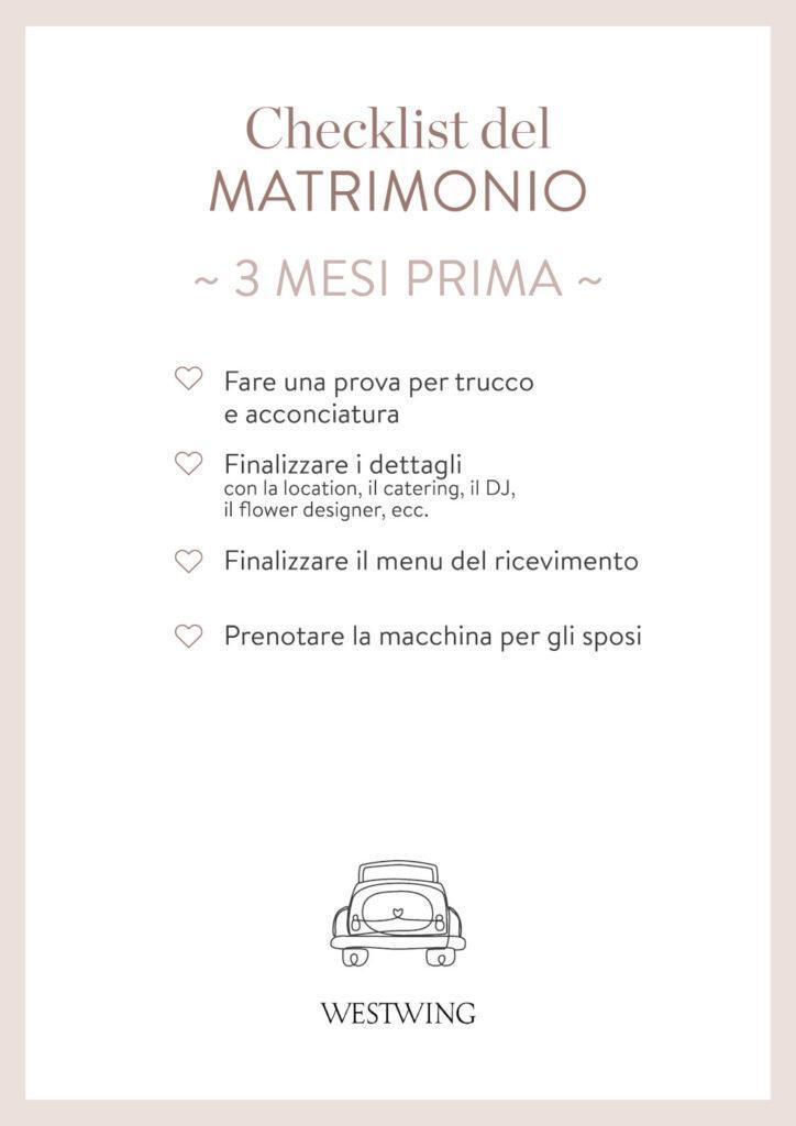 Checklist matrimonio 3 mesi prima