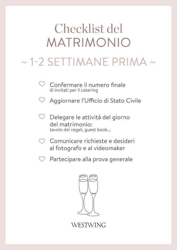 Checklist matrimonio 1 settimana prima