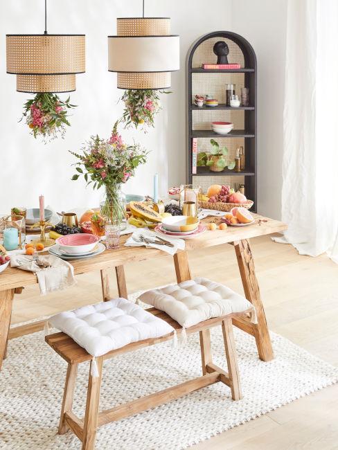 tavolo sala da pranzo con panca in legno