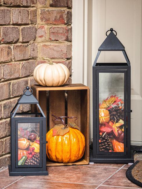 lanterne decorative con zucche