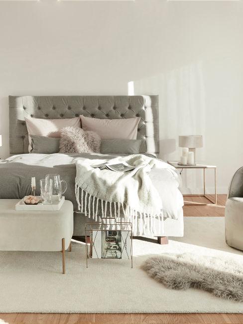camera da letto chiara con letto tortora