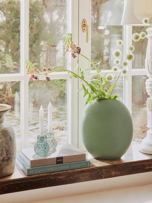 Vaso verde su davanzale
