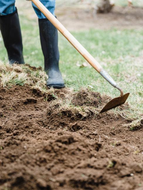 Ravvivare il terreno con una pala