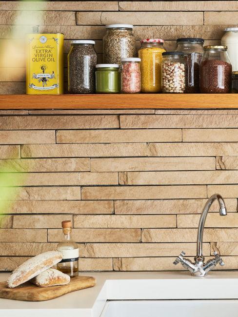 pannelli legno parete cucina