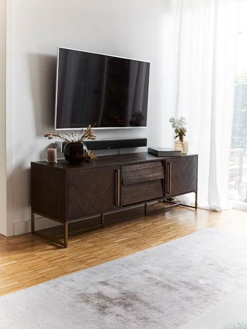 consolle tv in legno scuro