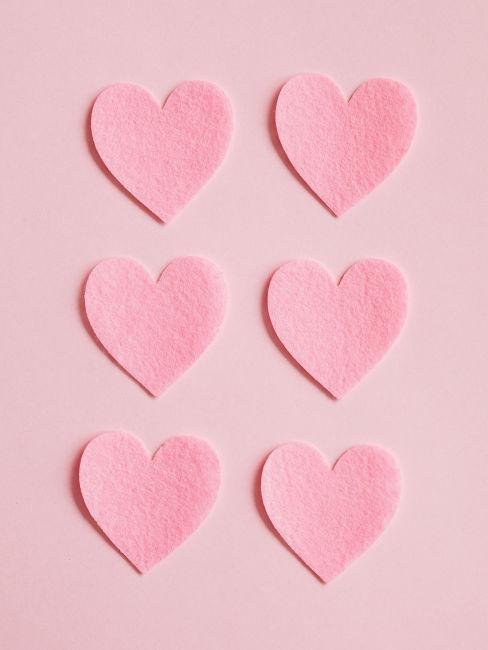 Cuori rosa in feltro