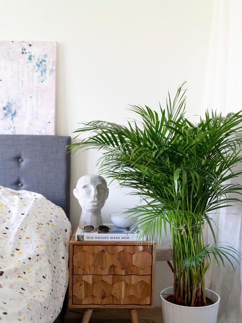 Decoratief object op houten nachtkastje naast een plant en bed