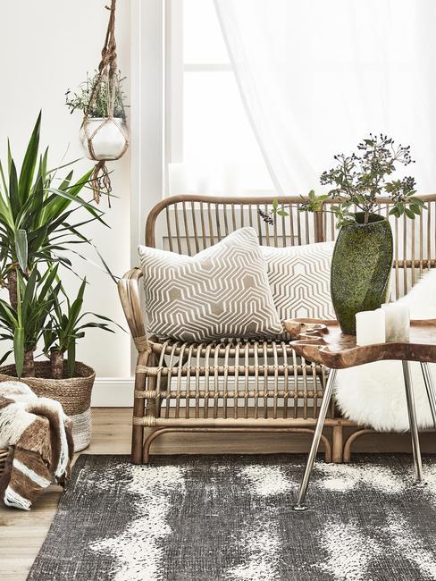 Rotan zitbank, plantenpotten en zachte kussens