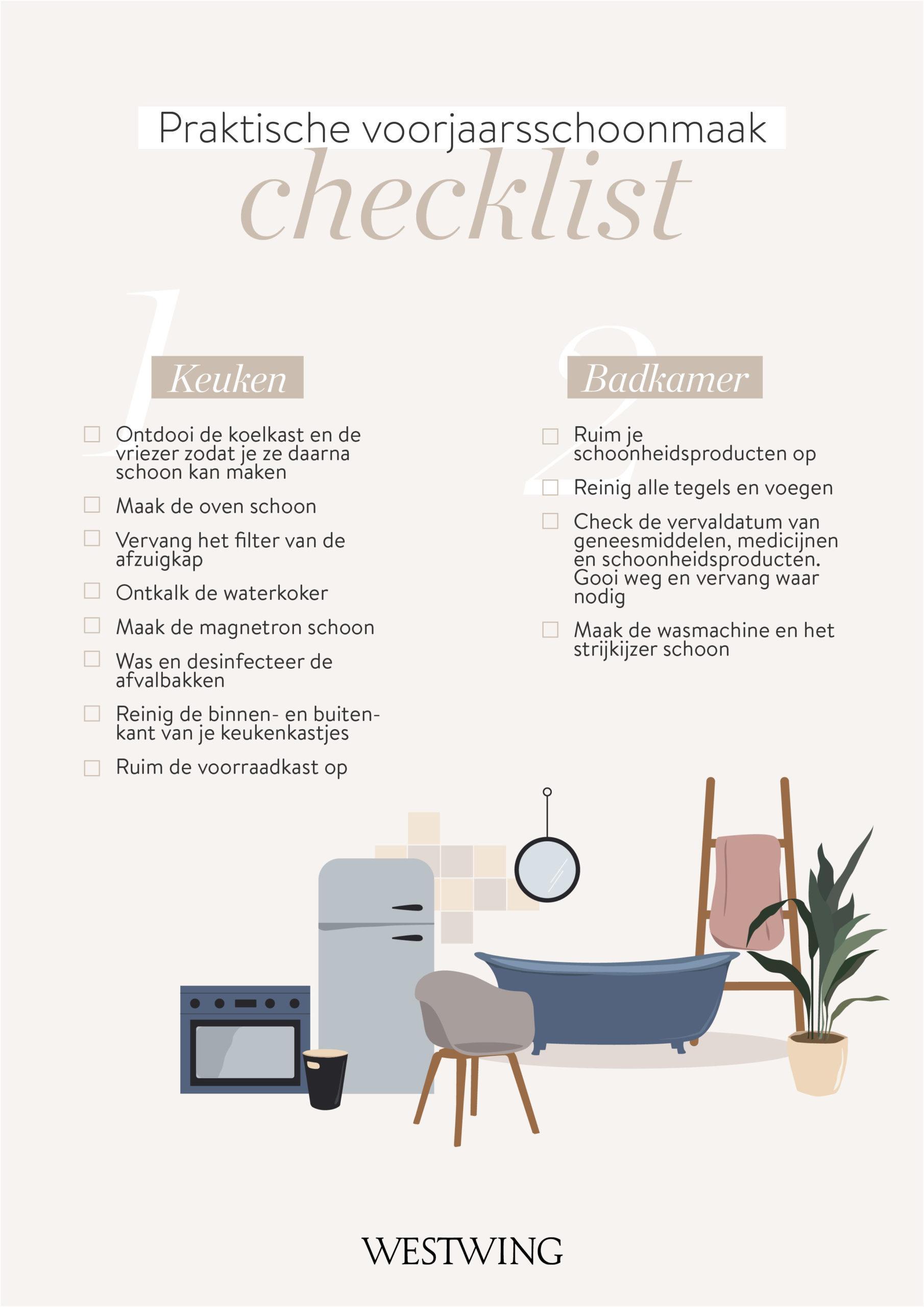 Voorjaarsschoonmaak checklist keuken en badkamer