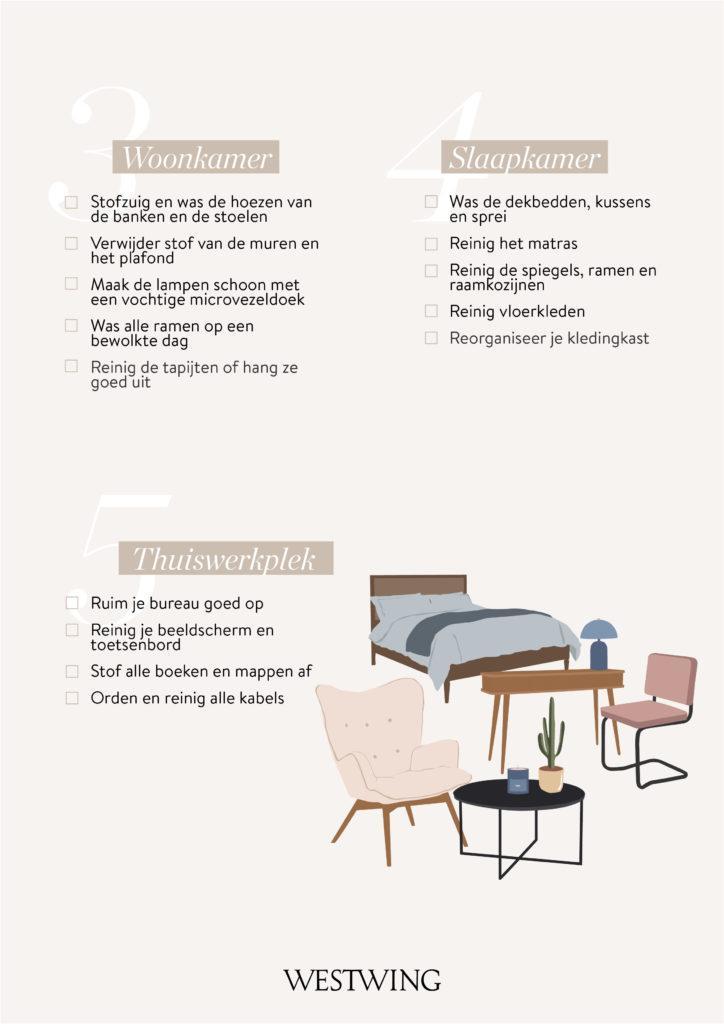 Voorjaarsschoonmaak checklist woonkamer, slaapkamer en thuiswerkplek