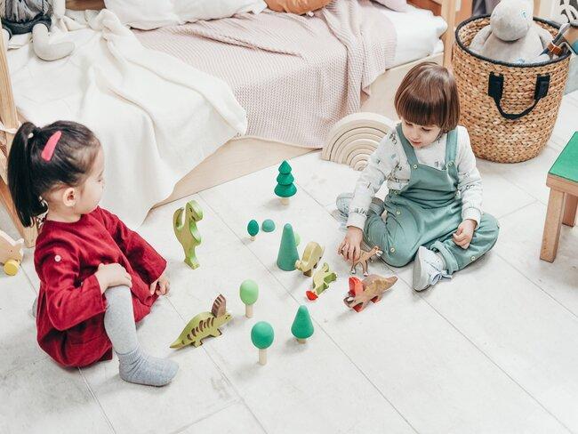 2 kinderen spelen in kleuterkamer met houten speelgoed