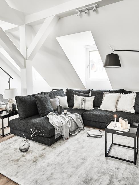 Moderne woonkamer met zwarte bank en grijze sierkussens naast een grijs vloerkleed