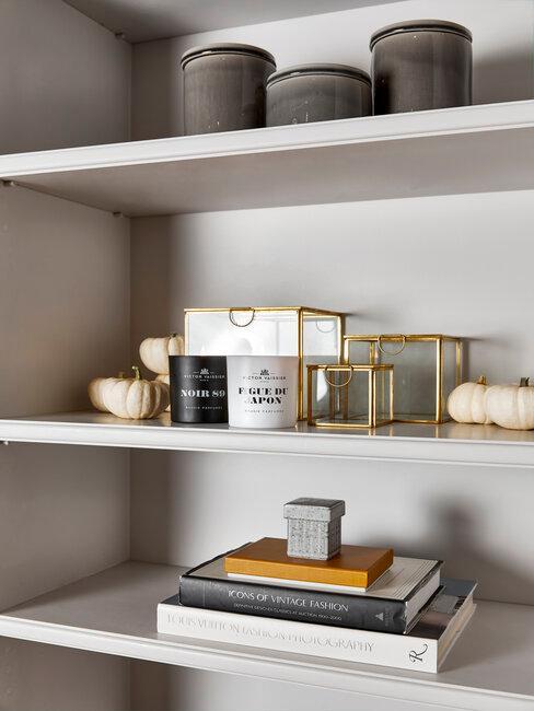 wandkast met boeken en accessoires