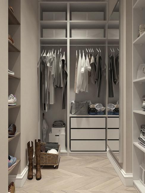 Functionele kleedkamer in bauhaus stijl.