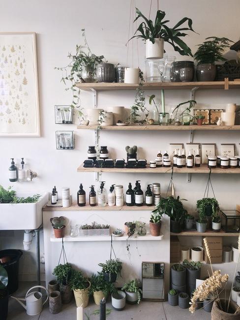 Decoratie van houten planken, planten en accessoires in de stijl van de jaren 70
