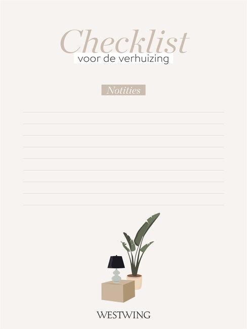 notities checklist verhuizen