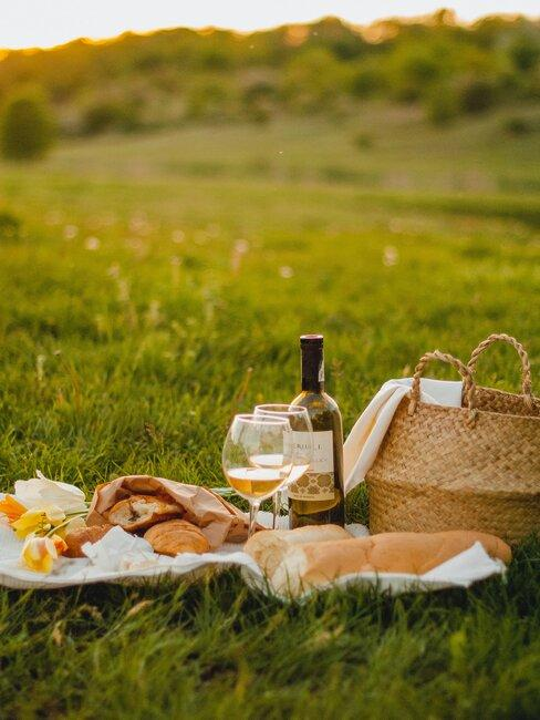picknick: fles witte wijn en eten in een grasveld