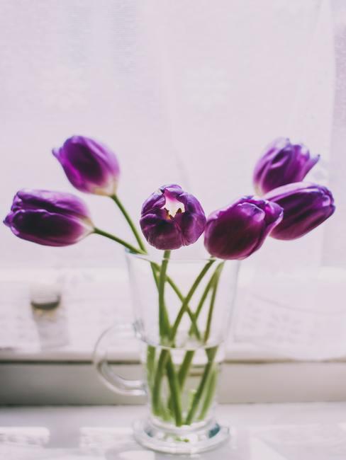 Boeket van paarse tulpen in een transparante glazen vaas op tafel