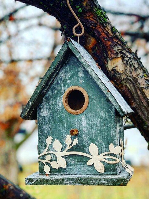 licht blauw vogelhuisje
