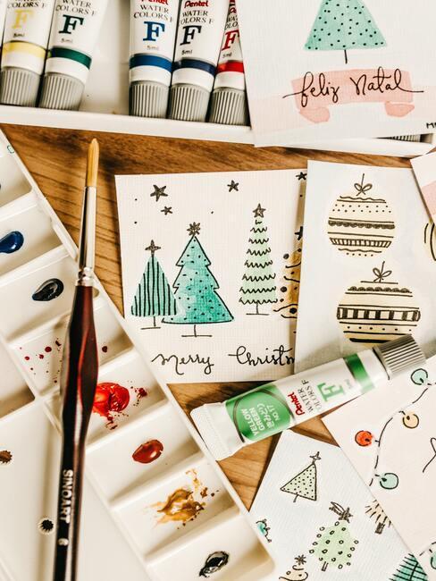 Kerstkaarten maken: Verschillende kleurrijke decoratieve kerstkaarten