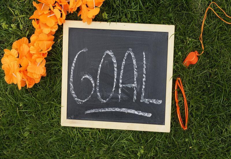 krijtbord met goal