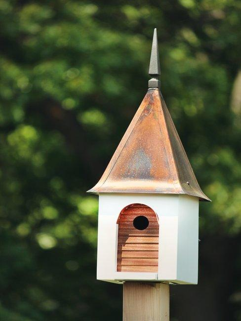 Punt vogelhuisje op houten paal