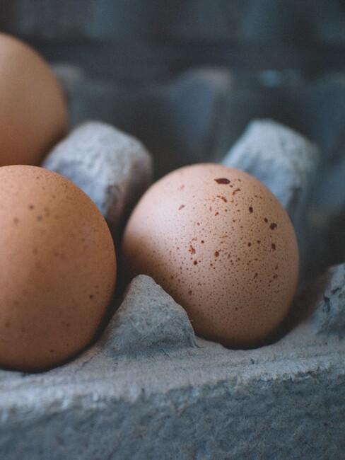 eitjes in een kartonnen eierdoos