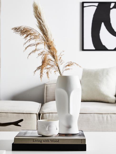 Alabaster witte vaas op witte salontafel