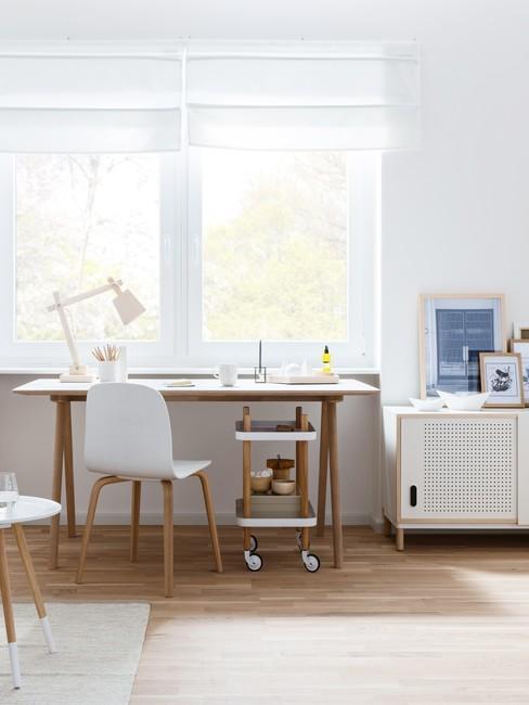 ideale werkplek met een houten bureau en witte stoel