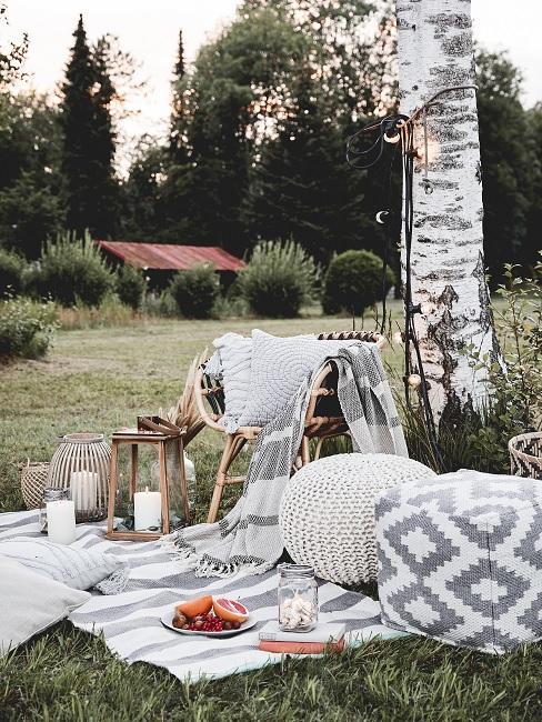 Pickniks in eigen tuin inspiratie met grijs wit vloerkleed en poef naast een witte boom