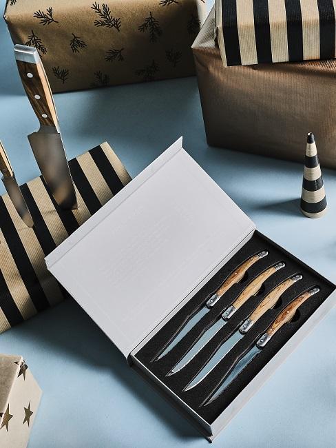 cadeau papa: messenset in een houten doos