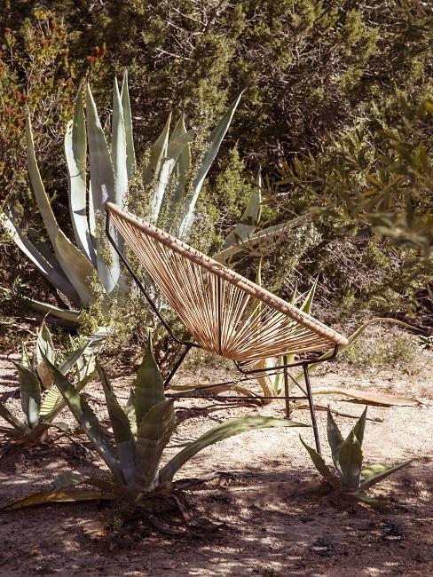 Mediterraanse tuin met rotan loungestoel