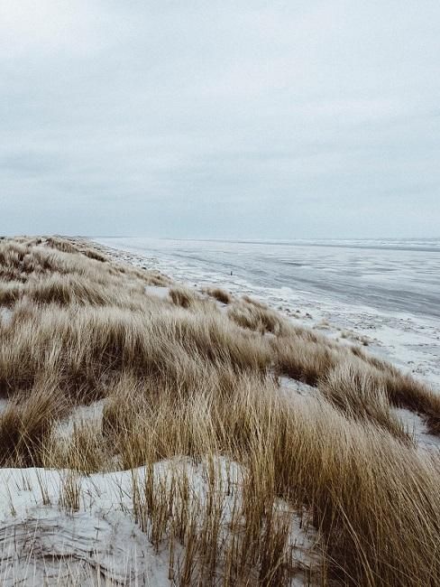 Vliebiza duinen en zeegolven bij bewolkt weer
