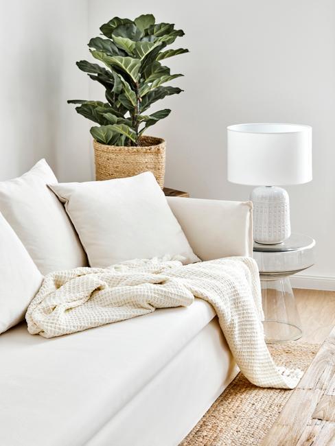 Zitbank mila met groene plank en witte tafellamp op doorzichtige bijzettafel