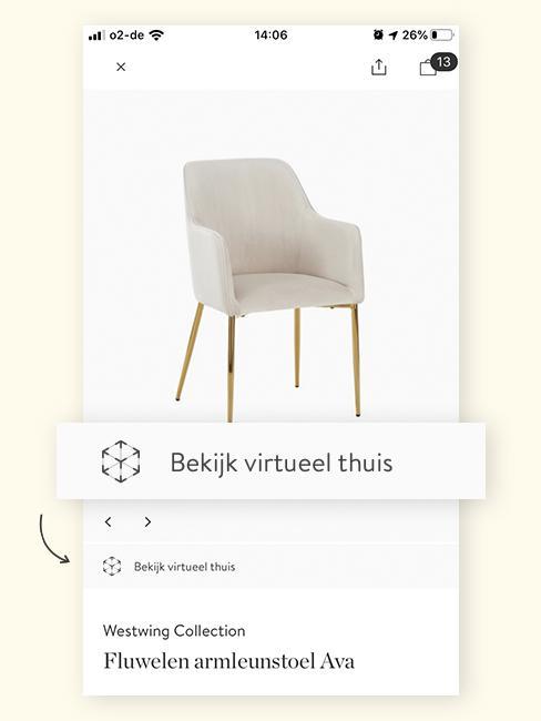Augmented Reality stoel eetkamer wit